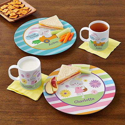 Fluffy Easter Bunny Personalized Tableware
