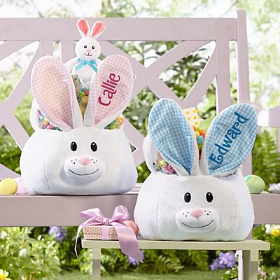 Fluffy Bunny Plush Easter Basket