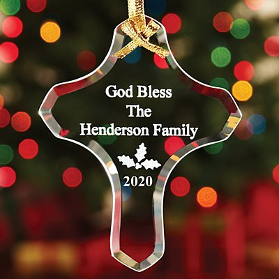 Glass Cross Ornament