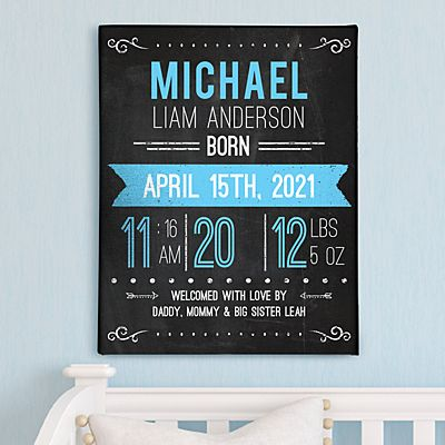 New Baby Announcement Chalkboard Wall Art