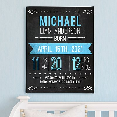 New Baby Announcement Chalkboard Wall Art