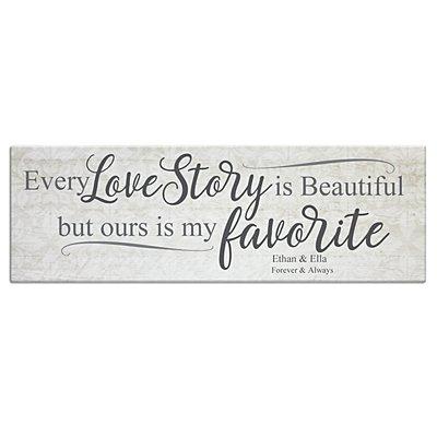 Every Love Story Canvas - 45x15 cm Cream