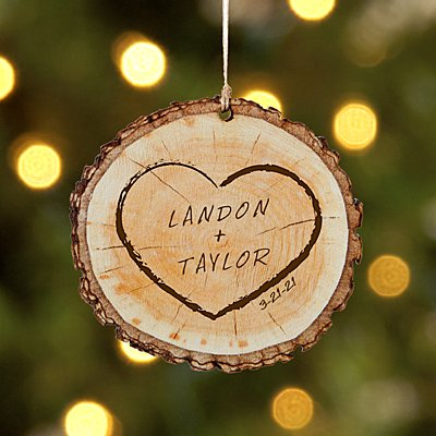 Carved Heart Rustic Wood Round Ornament
