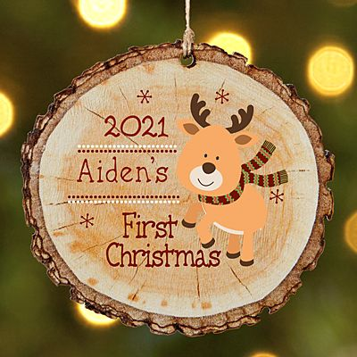 Little Deers First Christmas Rustic Wood Round Ornament