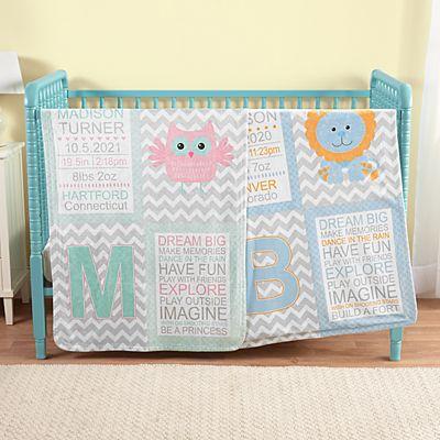 Chevron Baby Information Blanket