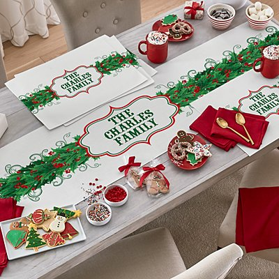 Happy Holly Table Runner & Placemats