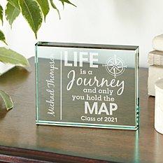 Life Is A Journey Graduation Glass Block