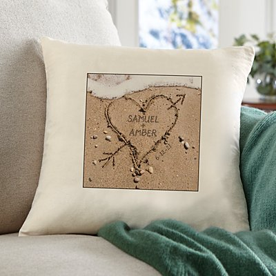 Heart in Sand Throw Pillow