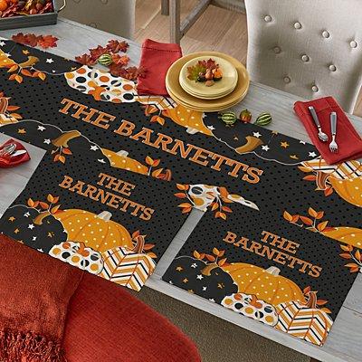 Pattern Pumpkin Table Runner & Placemats