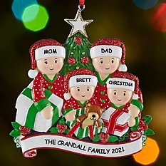 Family Opening Presents Ornament