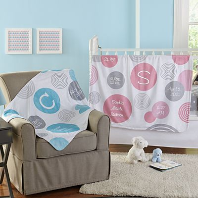 Polka Dot Birth Info Blanket