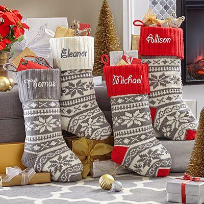 Winter Snowflake Knit Stocking