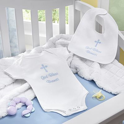 Embroidered Baptismal Bib & Bodysuit