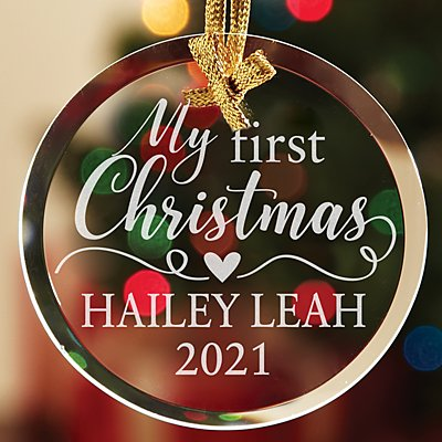 Baby's First Christmas Round Glass Ornament