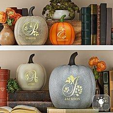 Light-Up Floral Name Pumpkin