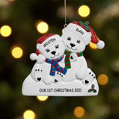 Playful Polar Bear Family Couple Ornament