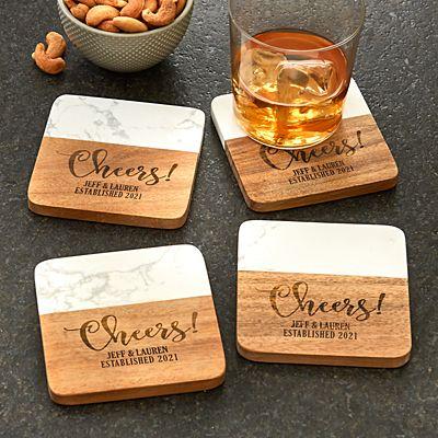 Cheers! Marble Wood Coasters