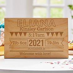 Baby Announcement Wooden Postcard