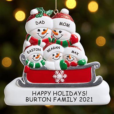 Sleigh Ride Snowman Family Ornament
