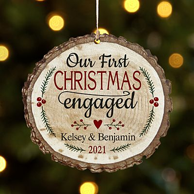 We're Engaged Rustic Wood Round Ornament