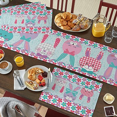 Bunnies Gather Here Table Runner & Placemats