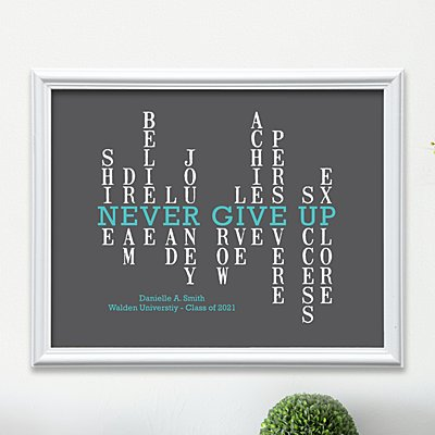 Never Give Up Graduation Wall Art