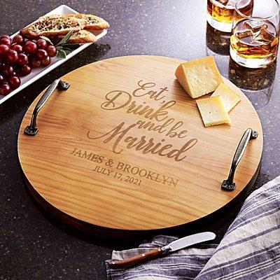 Eat, Drink & Be Married Wood Barrel Tray