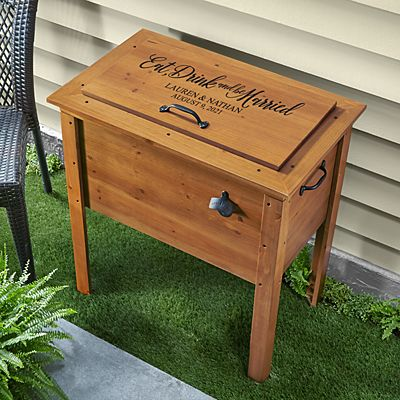 Eat, Drink & Be Married Outdoor Wooden Cooler