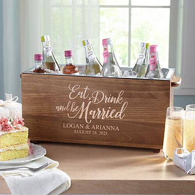 Eat, Drink & Be Married Wood Beverage Chiller