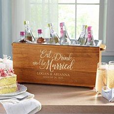 Eat, Drink & Be Married Wood Beverage Chiller