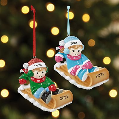 Winter Fun Kids Sledding Ornament