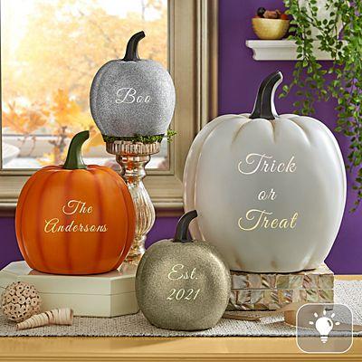 Light-Up Text Pumpkin