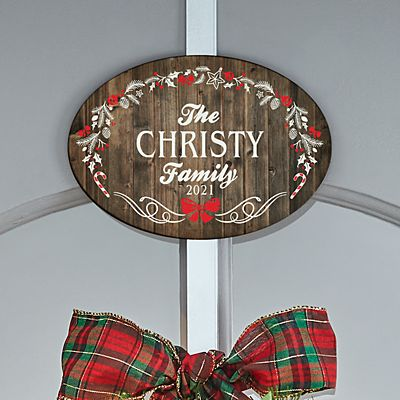 Rustic Christmas Wreath Holder with Plaque
