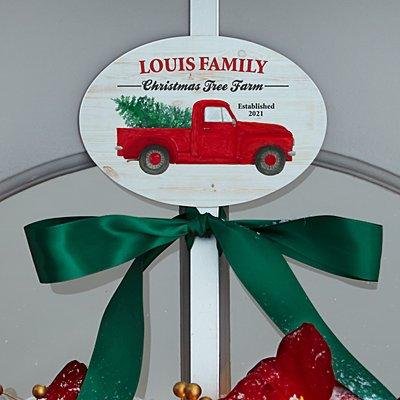 Christmas Tree Farm Plaque with Decorative Wreath Holder