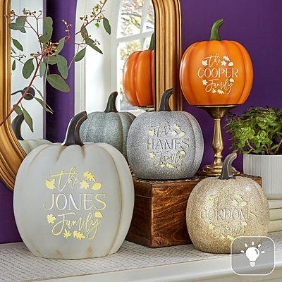 Light-Up Falling Leaves Pumpkin