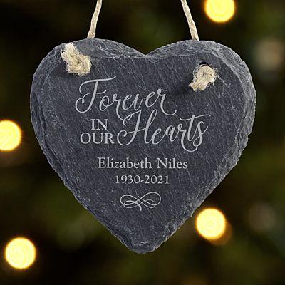 Always and Forever Memorial Heart Slate Ornament