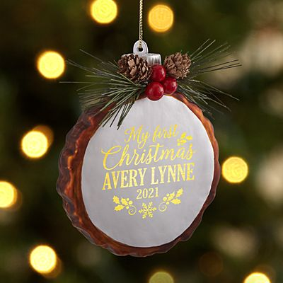 Baby's First Christmas Rustic Pine Lighted Ornament