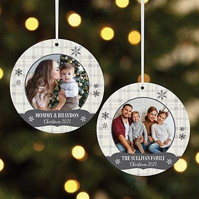 Snowflake Wishes Photo Round Ornament