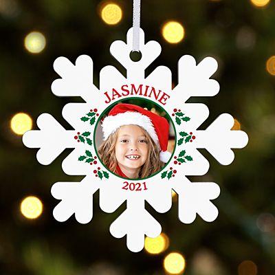 Holly Jolly Photo Snowflake Ornament
