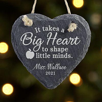 Teachers Shape Minds Heart Slate Ornament
