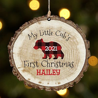 Little Cub's First Christmas Rustic Wood Round Ornament