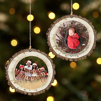 Picture Perfect Photo Rustic Wood Round Ornament