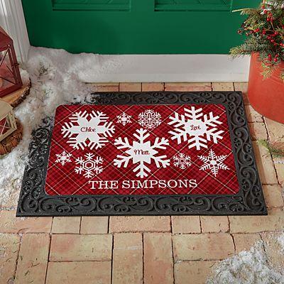 Snowflake Flurry Family Doormat
