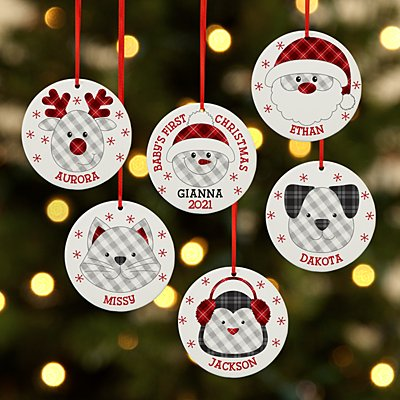 Whimsical Winter Plaid Character Round Ornament