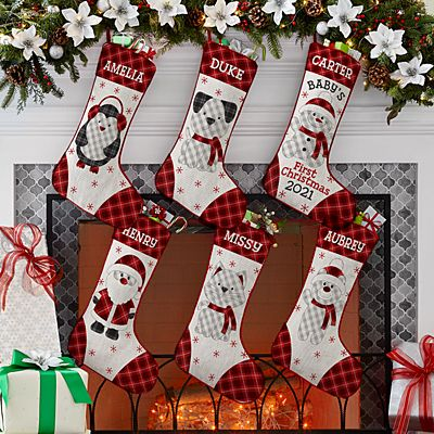 Whimsical Winter Plaid Character Stocking