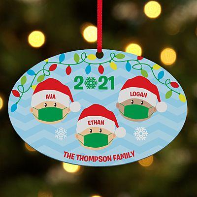 Holiday Quarantine Family Oval Ornament