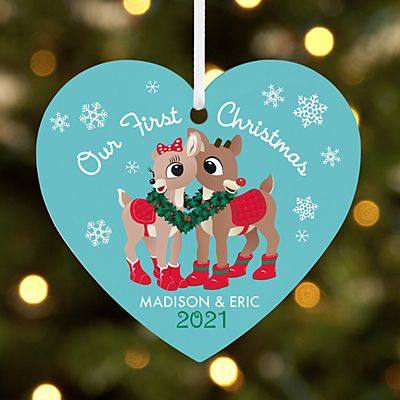Rudolph® Our First Christmas Couple Heart Ornament