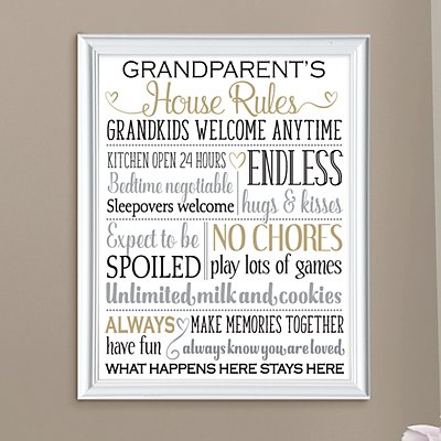 Grandparents Rules Framed Print