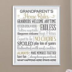 Grandparents Rules Framed Print