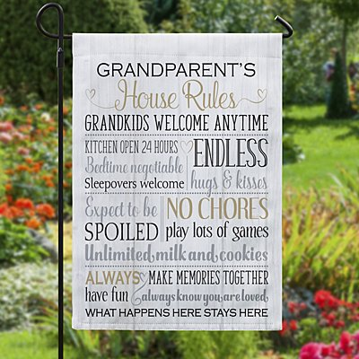 Grandparents Rules Garden Flag